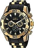"""Invicta 男式""""Pro Diver""""石英不锈钢和硅胶休闲手表,黑色(型号:22340)"""