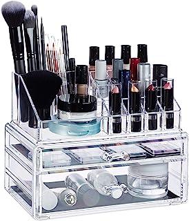Relaxdays 化妆品收纳盒带2个抽屉,化妆套装适用于口红,*油,化妆架丙烯酸,透明 透明 Standard 10024647_50