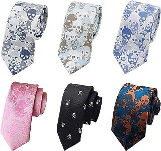 JTCMOJS 6 件套男士骷髅领带紧身丝绸十字骨骨架万圣节领带