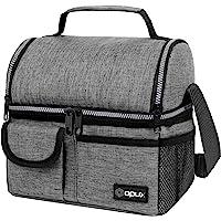 OPUX 男士豪华保温双隔层午餐袋,女士 ? 双层可重复使用的午餐袋带肩带,柔软防漏内衬 ? 大号午餐盒手提袋,学校 杂…