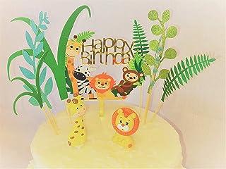 Excel9 9 件丛林主题生日装饰套件 I 丛林主题婴儿淋浴装饰蛋糕装饰 I 包括亚克力快乐生日蛋糕装饰 I 棕榈叶蛋糕装饰 I 可爱狮子和长颈鹿陶瓷动物