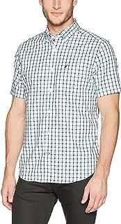 Nautica 男士前纽扣防皱短袖格子衬衫
