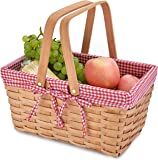 野餐篮自然编织木屑,带双折叠手柄 | 复活节篮 | 存储复活节彩蛋和复活节糖 | 收纳毯子收纳盒 | 浴室玩具和儿童玩具…