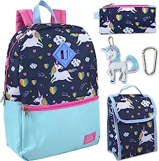 Trail maker 5 合 1 全尺寸角色书包和午餐包套装适合女孩 Unicorn Ice Cream 全套尺寸