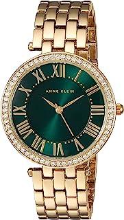Anne Klein AK / 2230GNGB 女士施华洛世奇水晶手链手表,Gold/Green