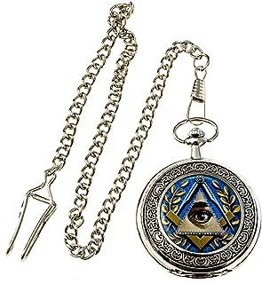 Masonic All Seeing Eye 银色和蓝色手表 - 直径 5.08 厘米