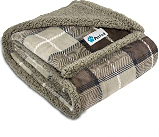 PetAmi 防水狗毯 适用于床沙发沙发,保暖夏尔巴宠物抱毯 - 超柔软超细纤维羊毛 - 适合小狗和大型宠物狗的双面设计 Plaid Taupe 80 x 60 Inches