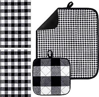 Aneco 4 件装吸水干燥垫洗碗巾隔热垫干燥垫超细纤维碗碟干燥垫厨房用垫黑色和白色
