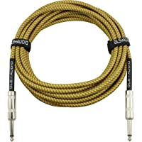 GLS Audio 20 英尺吉他乐器电缆 - 1/4 英寸 TS 至 1/4 英寸 TS 20 FT 棕色黄色粗花呢布…