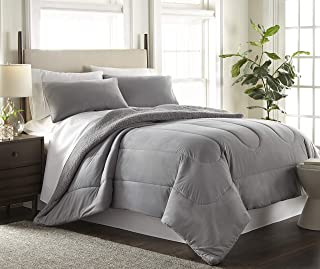 Shavel Thermee 超细法兰绒双面夏尔巴棉被套装,石灰灰色,普通双人床/双人床