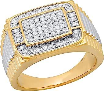 Dazzlingrock 系列 0.50 克拉 (ctw) 圆形白钻男士罗纹戒环周年纪念婚戒 1/2 克拉,镀金纯银