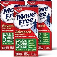 Move Free 益节 氨基葡萄糖软骨素以及MSM补充片剂(一盒120粒)(3盒装),支持移动性,灵活性,强度,润滑性…