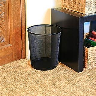 St@llion 黑色金属网状垃圾篮圆形垃圾桶 适用于办公室家庭纸箱
