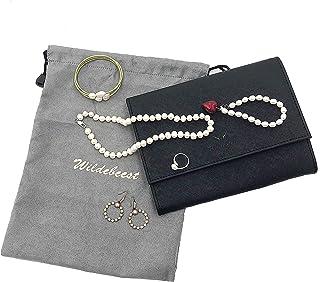 WILDEBEEST 旅行首饰收纳盒 首饰卷收纳盒 配有拉绳保护袋 用于存放手镯、耳环、钻石、发针、戒指、项链,黑色