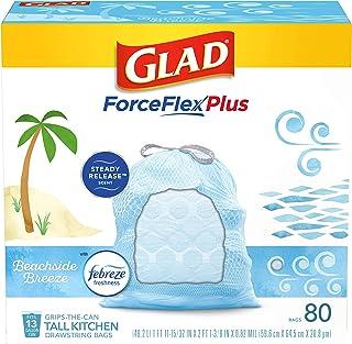 Glad® ForceFlexPlus 高大厨房抽绳垃圾袋 - 13 加仑垃圾袋,Febreze Beachside Breeze - 80 个装(包装可能有所不同)
