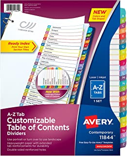 Avery A-Z 标签隔页夹,适用于 3 个活页夹,可定制目录,多色标签,1套(11844) 12 Packs