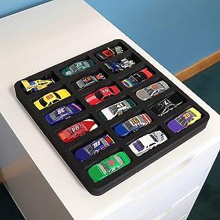 Polar Whale 玩具汽车抽屉收纳盒可清洗,适用于家庭卧室游乐室,兼容 Hot Wheels 和 Matchbox 汽车,10.9 x 11.6 x 1 英寸(约 27.9 x 27.9 x 27.9 厘米)黑色泡沫 18 个隔层
