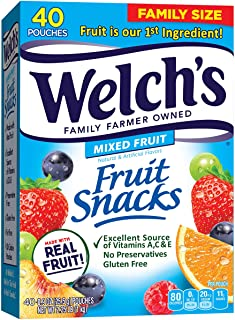 Welch's 水果零食,浆果和樱桃 0.9 Ounce (Pack of 40)