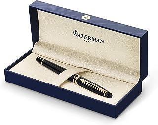 Waterman 威迪文黑色笔身金色镶边钢笔,中号笔尖和蓝色墨水 (S0951660)