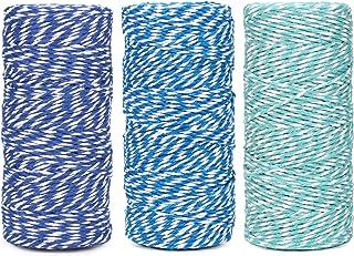 Cotton Bakers 绳索线 328 英尺 100 米,适用于烘焙、工艺品和圣诞节假日包装绳(*蓝/蓝色/薄荷)