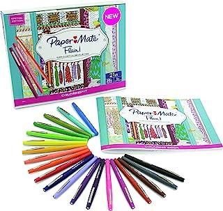 """Paper Mate 毡头签字笔 中号笔尖 多种颜色 20支装 含""""女人的衣橱""""成人图画薄"""