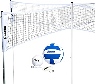 Franklin Sports 四排排球 - 排球遇上 4 方形 - 完整网系统,包含特大和传统排球,边界套件/线标记