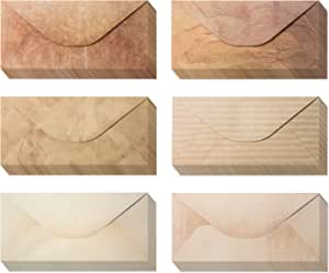 【48包】复古信封 - 复古风格信封 - 经典复古信封 6 种独特设计 - 复古风格信封 - 4 x 8.7 英寸(48 包)