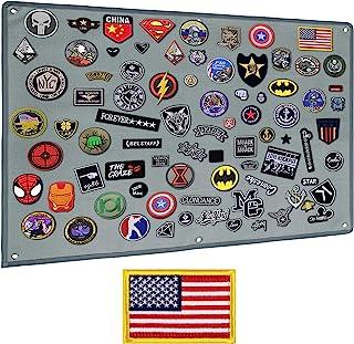 IronSeals 战术板补丁收纳架展示环表面、钢环和旗帜补丁(M:85 x 70CM/ 33 x 27.5 英寸,灰色 + 旗帜补丁)