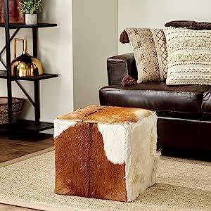 Deco 79 37749 木质皮革隐藏脚凳,45.72 厘米 x 43.18 厘米,棕色