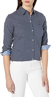 Nautica 女士印花弹力长袖衬衫条纹装饰袖