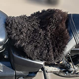 inseptio 羊皮摩托车座套 黑色 - 真羊皮摩托车座垫 - 摩托车座垫 绵羊自行车座套 16 英寸 x 14 英寸