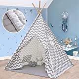 Tiny Land 圆锥形帐篷 带垫子 - 适合男孩女孩室内和室外,灰色 V 形厚棉帆布圆锥形帐篷