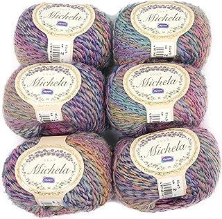 Olympus制丝 Michela 毛线 粗 col.2 紫色 系 35g 约110m, 6玉セット, 多色