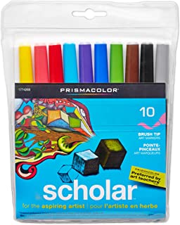 Prismacolor Scholar Water-Based Art Markers, Brush Tip, Set of 10 Assorted Colors (1774268)