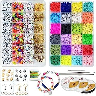 4800 件 24 色粘土海西珠,900 颗字母珠 A-Z,手镯制作聚合物粘土珠,扁平圆形间隔珠带吊坠,跳环和耳环 DIY 手工制作套件