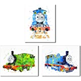 Thomas and Friends 水彩火车印刷品 - 3 个 8x10 墙壁艺术装饰照片 - 托马斯坦克-小火车