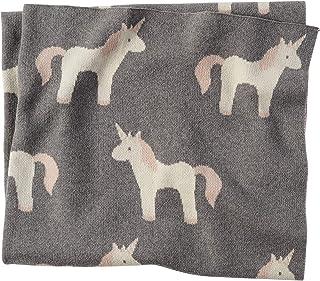 Mud Pie 柔软棉质婴儿房装饰独角兽毛毯,灰色