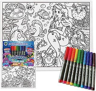 Splat Planet 彩色棉质幼儿餐垫,带 10 个*可水洗魔术马克笔 - 涂色和洗涤餐具垫(美人鱼餐垫)