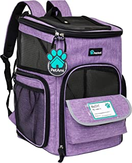 PetAmi 宠物背包适用于小型猫、狗、小狗   航空公司认可   透气、4 路入口、*和软垫背部支撑   可折叠,适合旅行、远足、户外 紫色 均码