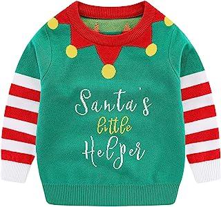 中性儿童丑陋圣诞毛衣男孩女孩针织套头衫秋冬保暖服装圣诞礼物