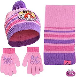Disney Princess 帽子,围巾和手套或手套寒冷天气套装,粉色,小女孩,适合 4-7 岁儿童