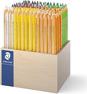 Staedtler 施德楼 128 CA112 大号彩色铅笔 Noris Club Jumbo,三角,112 支 Jumbo 彩色铅笔,按颜色分类,ABS - 系统,儿童*,符合EN71,德国制造