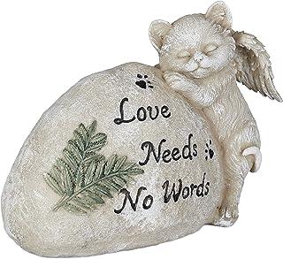 Relaxdays 猫咪的墓穴首饰,花园装饰人物,纪念品,墓碑带格言,猫天使,防风雨,奶油色