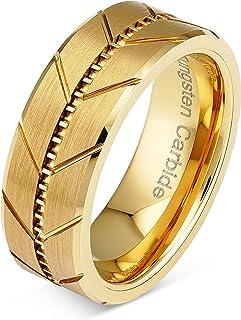 100S JEWELRY 男士碳化钨戒指 金婚戒 纹边风格斜边边缘尺寸 6-16