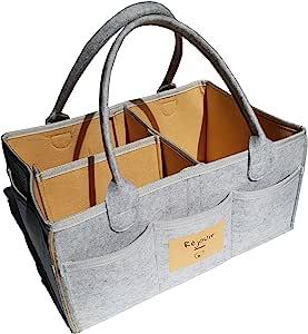 Baby Diaper Caddy 收纳袋:大号收纳袋,适合女孩使用的手提袋 - 便携式汽车旅行收纳袋,尿布台必备储物箱(芥末黄)