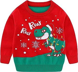 中性款儿童丑圣诞毛衣圣诞针织套头长袖圆领上衣
