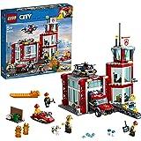 LEGO 乐高 60215 城市消防站车库积木套装,带卡车玩具,水上摩托车无人机和 3 个消防员迷你人物 灯光和声音积木…