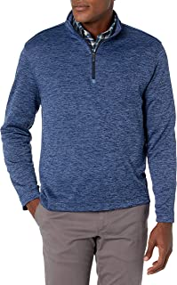Van Heusen 男式长袖性能弹力段染 1/4 拉链运动衫