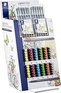 Staedtler 308S2CA120ST Fineliner 颜料线笔 展示架,120 件,不同颜色和宽度。