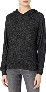 Marc New York Performance Women's Hachi Long Sleeve Boxy Dolman Hooded Pullover, Black Heather, Medium